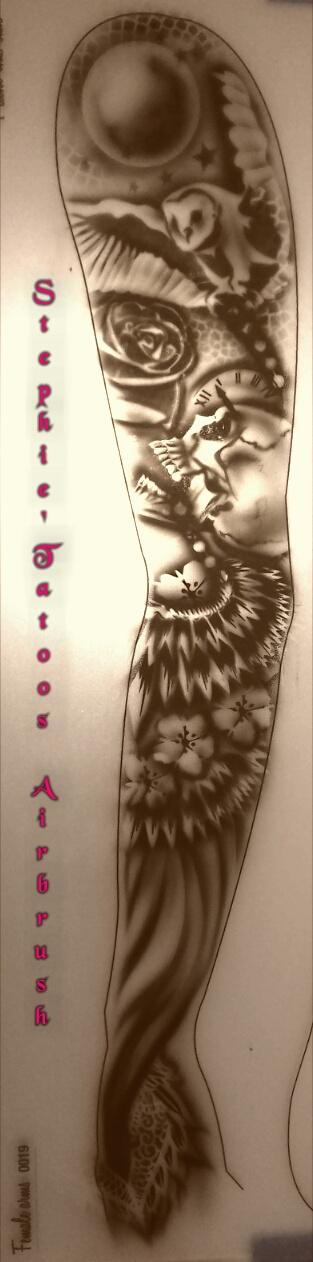Airbrush Tatoo réalisé sur plaque d'entrainement .