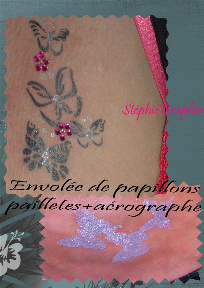 Tatoo éphémère à l'aérographe+paillettes et strass .