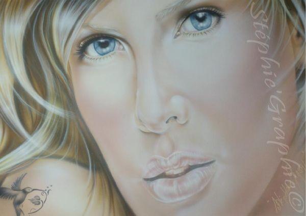 """"""" Sensualité """" portrait réalisé sur papier spécial aérographe 50x70."""