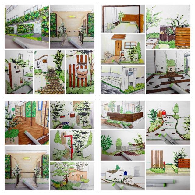ガーデン外構の手描きデザイン ガーデンデザイナー