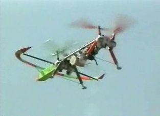 4ローターヘリで長時間飛行タイプ 安定性、牽引性、開発中