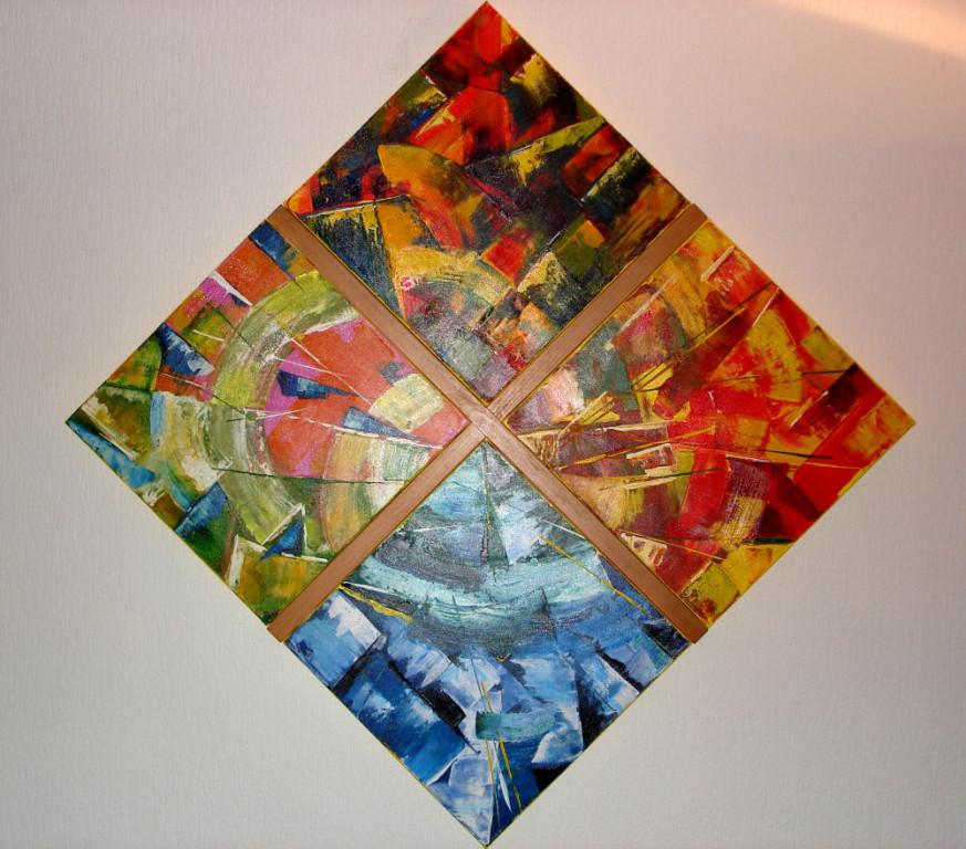 Die Jahreszeiten  Acryl  diagonal 117 cm in Buchenleisten gefasst