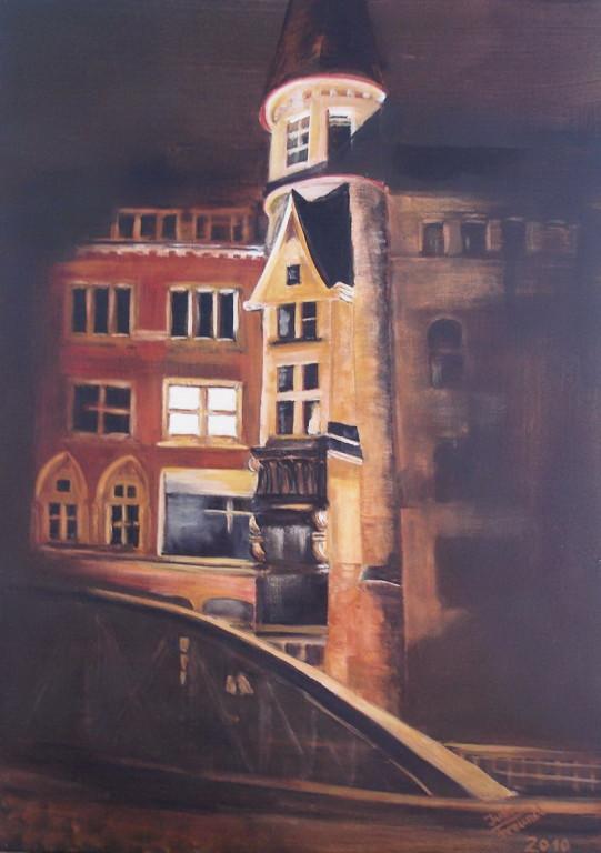 Nachts in der Speicherstadt  - Acryl auf Leinwand m. Kiefernholz-Rahmen