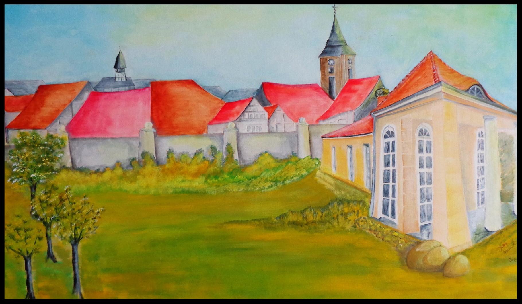 Burg Lenzen/Brandenburg im Burggarten mit Kieferrahmen  66x106    € 700