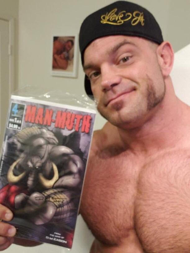 Pro Wrestler and X-Division Champion, Brian Cage has his copy of Man-Muth!