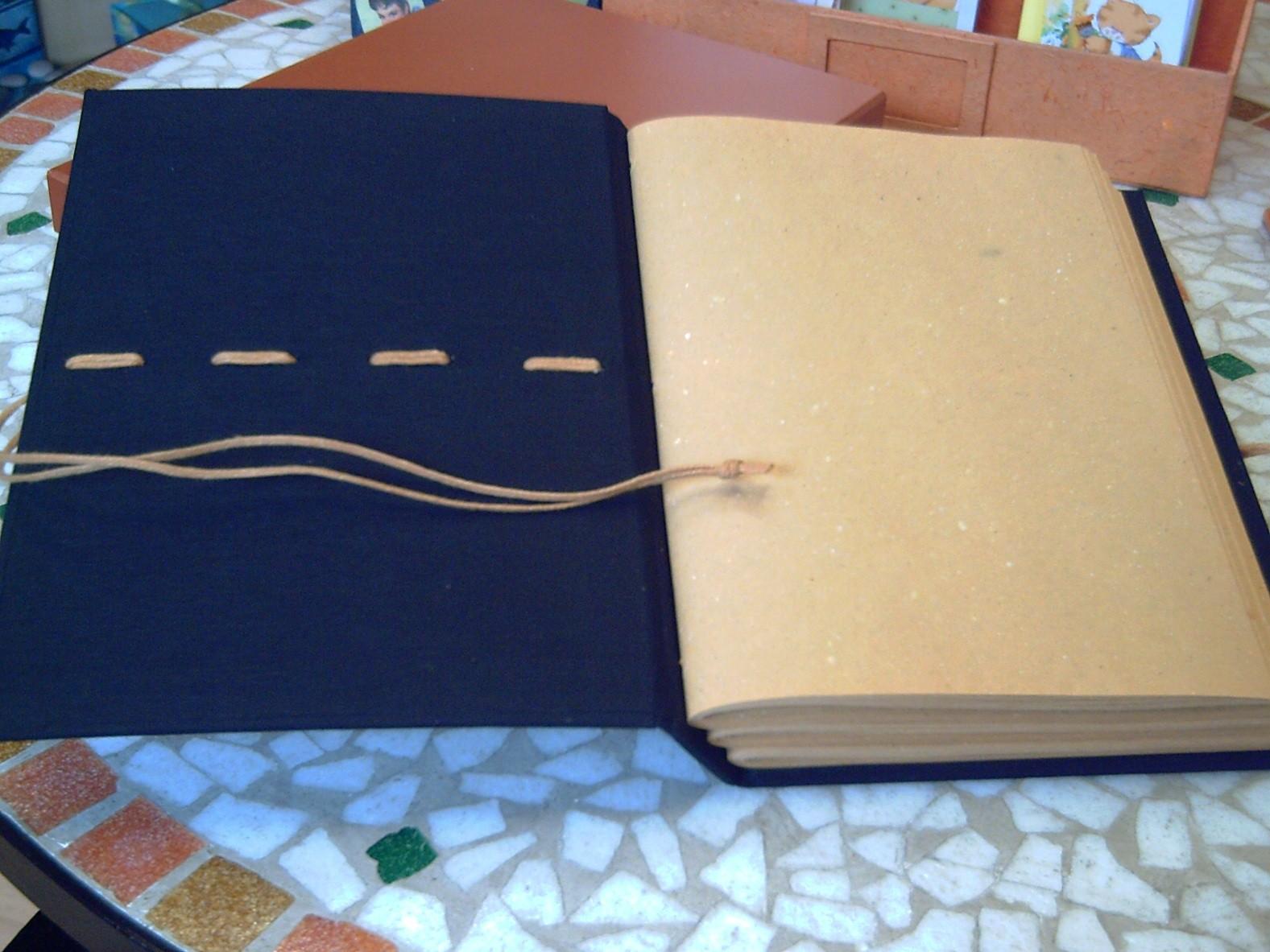 Il laccio di chiusura del quaderno è lo stesso cordino resinato che cuce i tre fascicoli e che impuntura la copertina decorandola