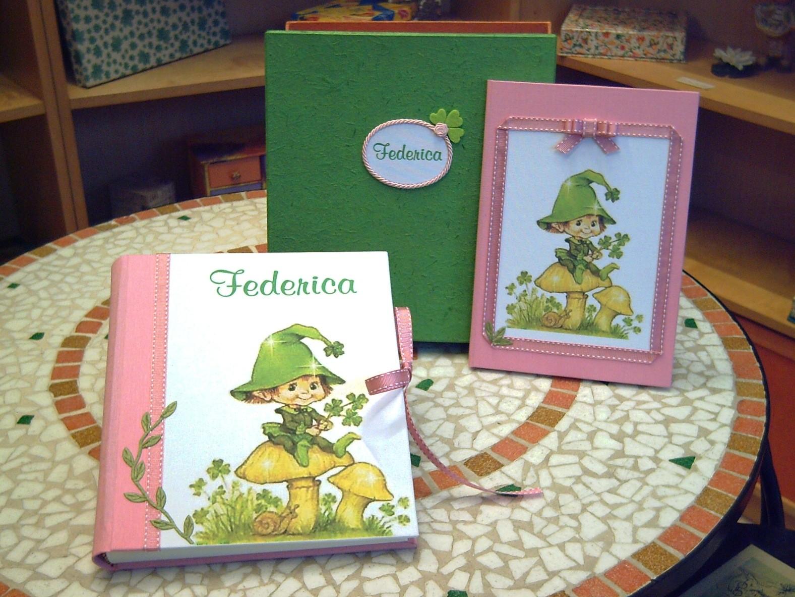 Album e quaderno coordinati, con immagine fornita dal cliente stampata sulla tela di rivestimento e scatola abbinata