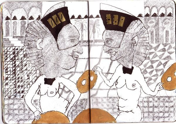 new york sketchbook projekt; Two Talking Ginko Ladies, 2013