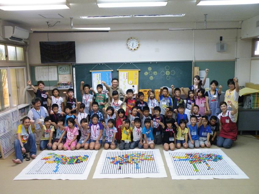 8.やりとげた橘小学校の子供たち、思わずガッツポーズ!