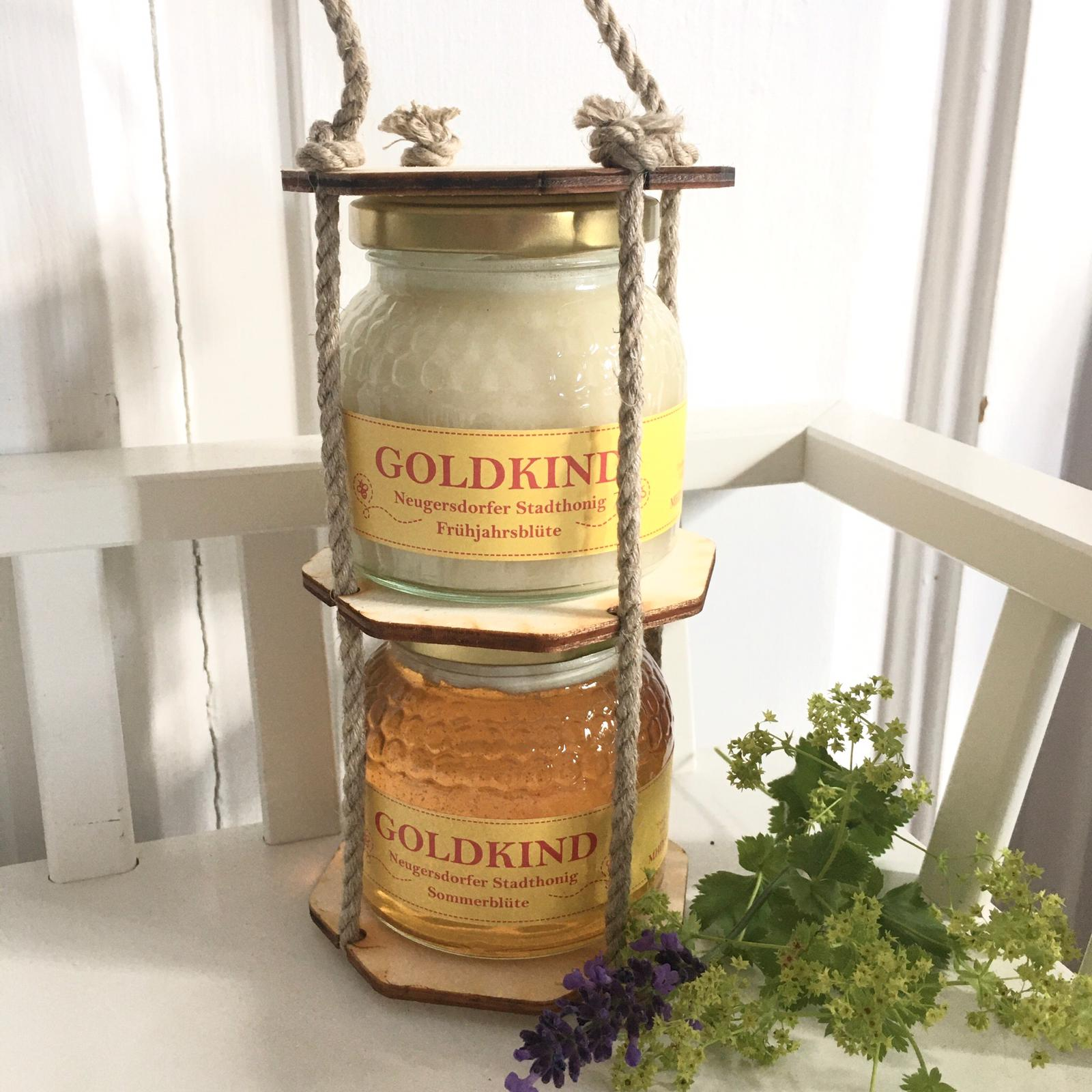 Geschenkset: 2 Gläser Honig in Holzampel