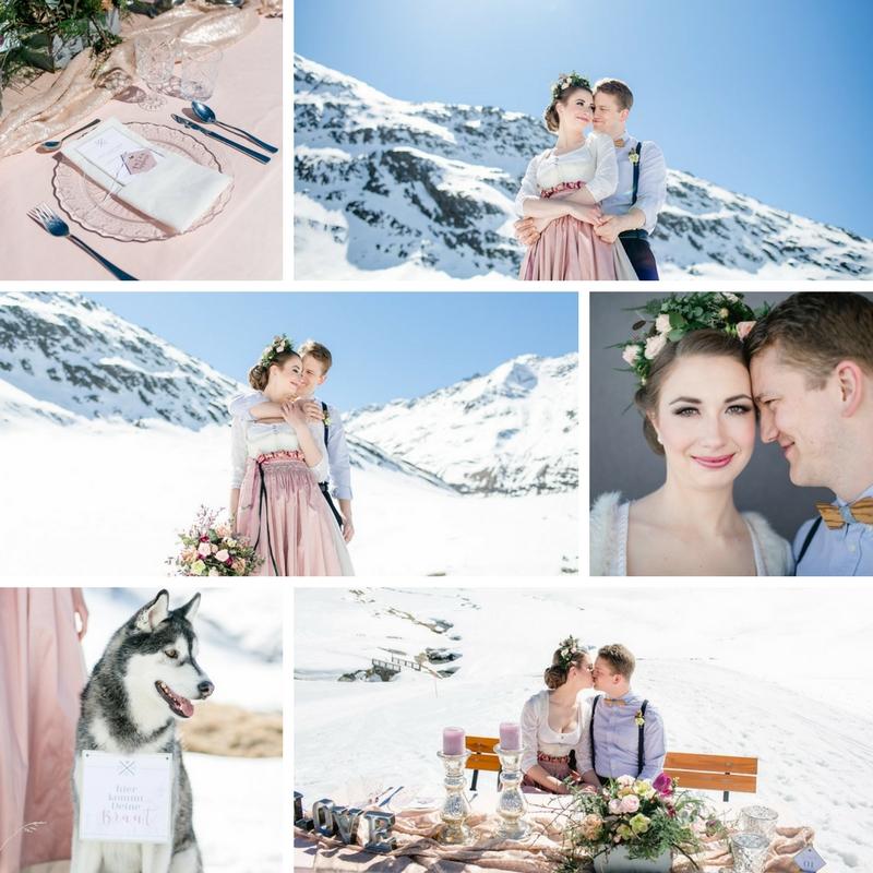 Winterhochzeit in Obergurgl. Langes Brautdirndl in weiß mit gestiftelter und bestickter Seidenschürze in altrosa. Der Rock aus Soft Satin ist gestiftelt. Dazu passend der Blumengürtel Winter Wonderland