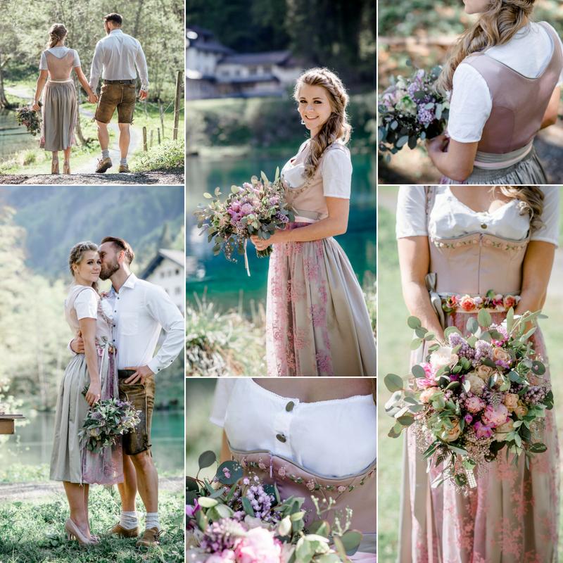 kurzes Dirndl / Hochzeitsdirndl auf Maß geschneidert in der Farbe altrosa und Schilf. Das Oberteil ist aus Stretch Satin und im Ausschnitt mit Blumen in Handarbeit bestickt. Die Schürze ist aus Spitze und der Rock ist gestiftelt.