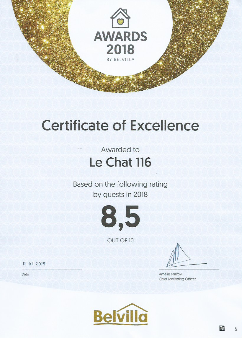 Bekroond met het Certificate of Excellence door Belvilla