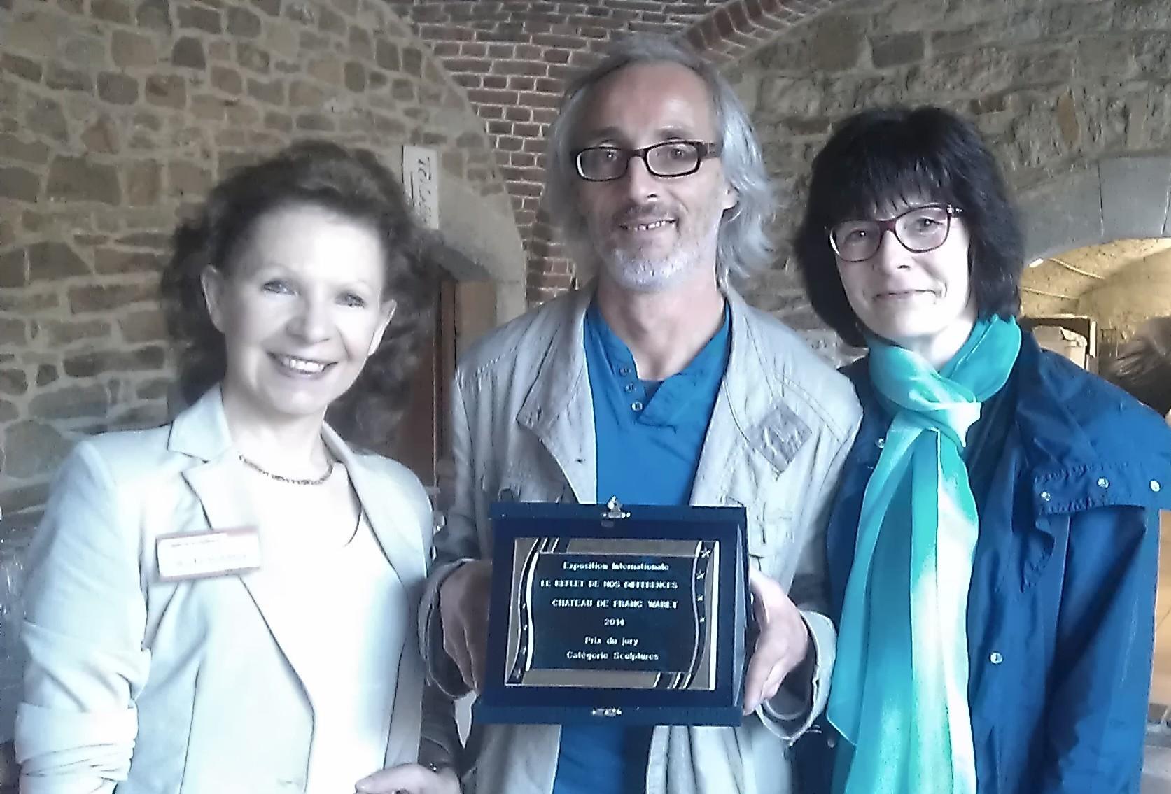 Nicole Marbaise, Stéphane Barboiron (sculpteur) et moi-même - Belgique
