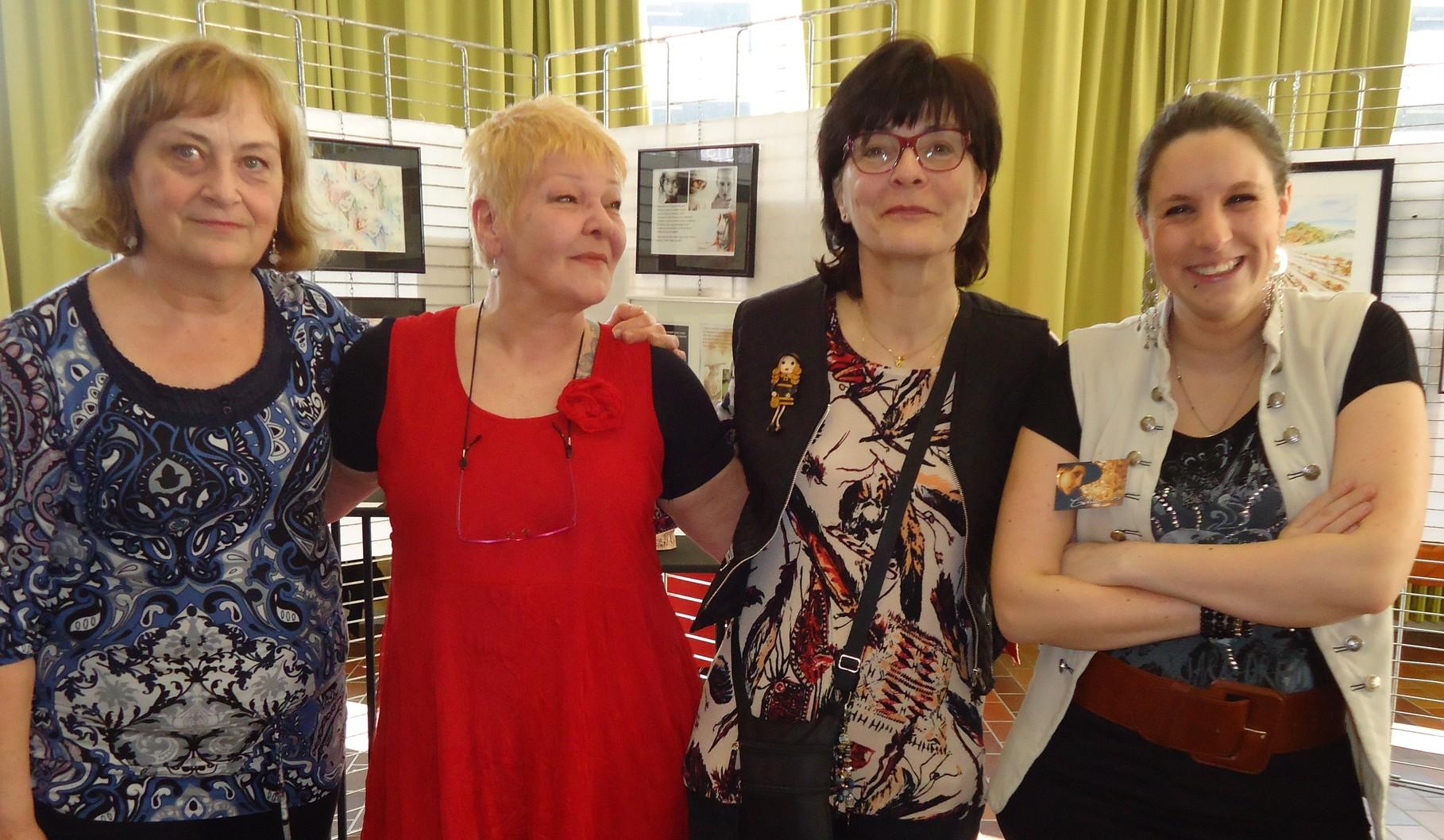 Dominique Petit, Annie  Malengreau, moi et Célia Barbiot - Mons - Belgique