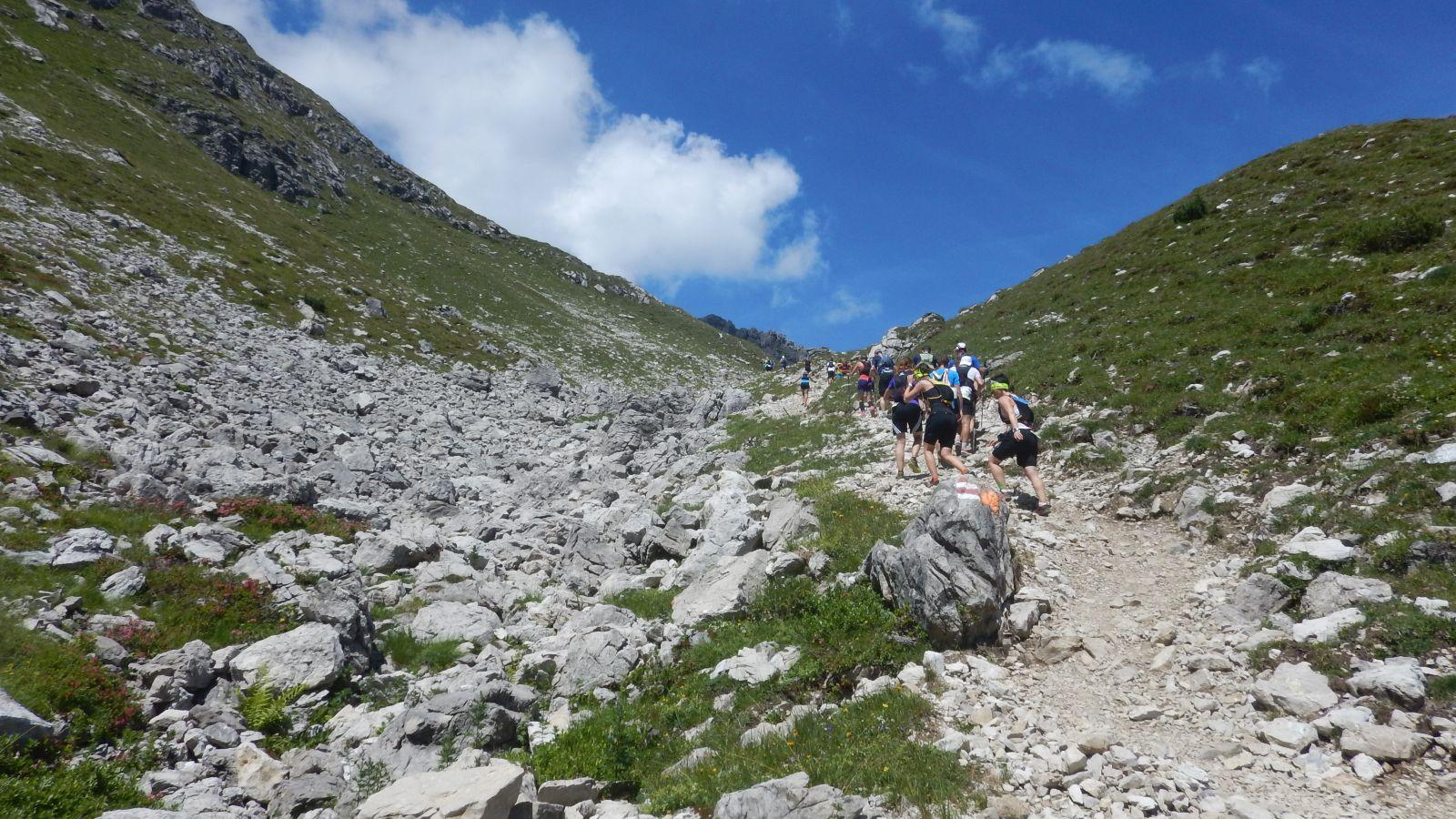 Der Steile Anstieg zur Fiderescharte den höchsten Punkt Heute !