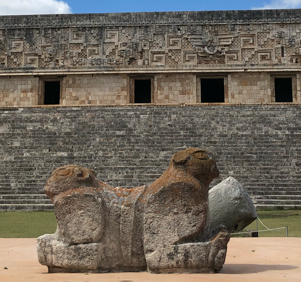 At the site of Uxmal, Yucatan, I found this stone dual jaguar. One faces the earth; one the sky. Yin and Yanguar :)