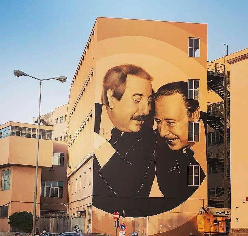 Murales van Falcone e Borsellino, la Kalsa