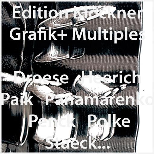 Edition Klöckner (Kirsten Klöckner) verlegt seit 1991 Grafik und Multiples von Felix Droese, Erwin Heerich, Nam June Paik, Panamarenko, A.R. Penck, Klaus Staeck und anderen...