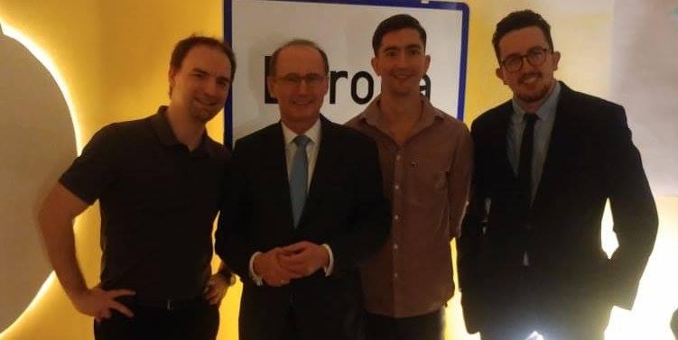 MEP Dr. Othmar Karas im Bürgerforum Europa mit Dietmar Pichler, Sebastian Sacher und Lukas Selig