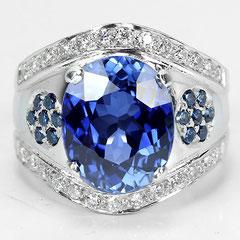 кольцо с сапфирами в серебре