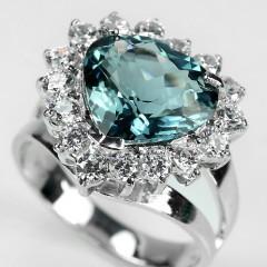 кольцо с лондон блю топазом в серебре 925 пробы
