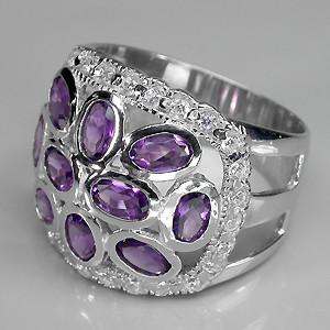 кольцо с аметистами в серебре
