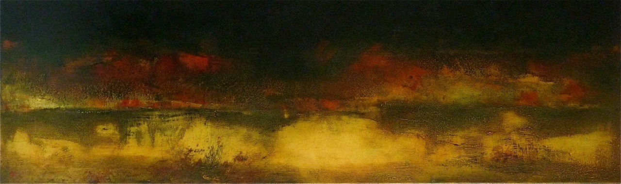 OBSCURE ATMOSPHÈRE   - huile /toile  100x30 cm- 2015