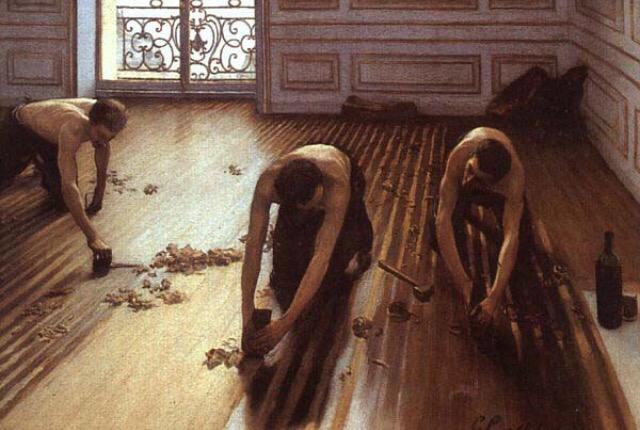 ギュスターヴ・カイユボット「床に鉋をかける人々」