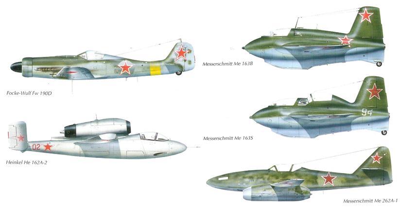 // 1945: Beuteflugzeuge von besonderem Interesse, die in die UdSSR verfrachtet wurden