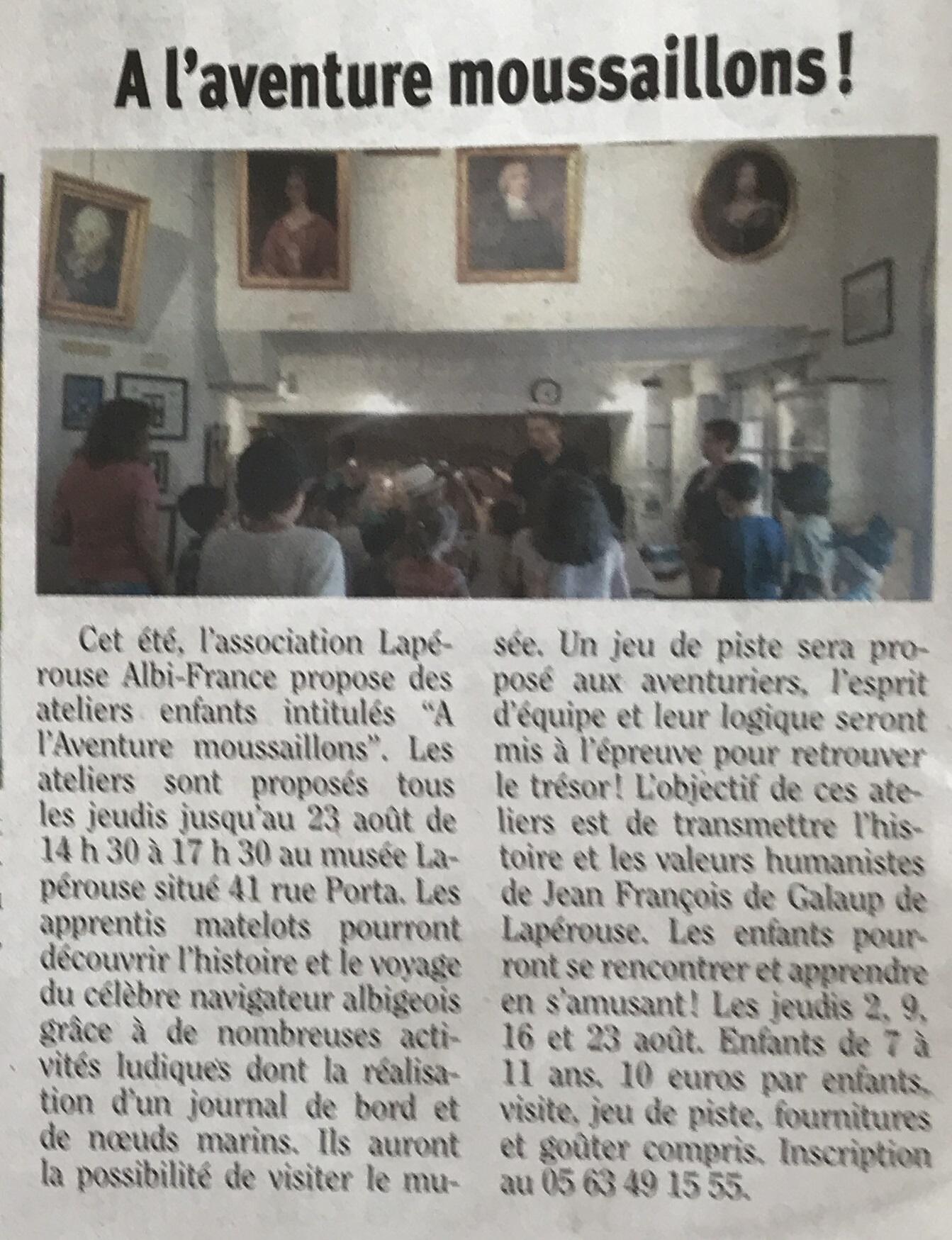 Article paru dans La Dépêche le 27/07/2018