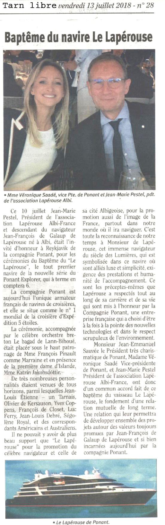 Article Paru dans Le Tarn Libre le 13 Juillet 2018
