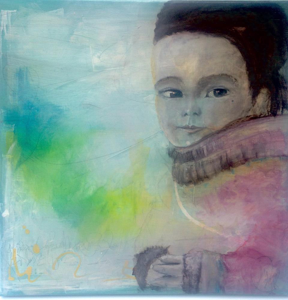 Mädchen im  Schnee 50-50 auf Leinwand Acryl, Aeorocolor, Pastellkreide, Kohle, Bleistift