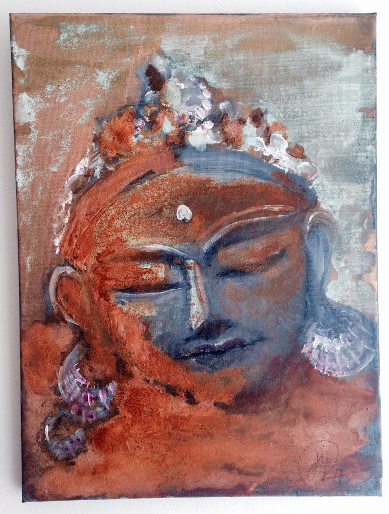 Shiva sinniert - 30-20 Leinwand - Acryl, Aeorocolor, Kohle,  Sonderfarben -Gold/Silber/Kupfer, Oxidation