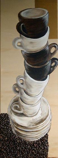 Tassen gestappelt, 90 x 30 cm