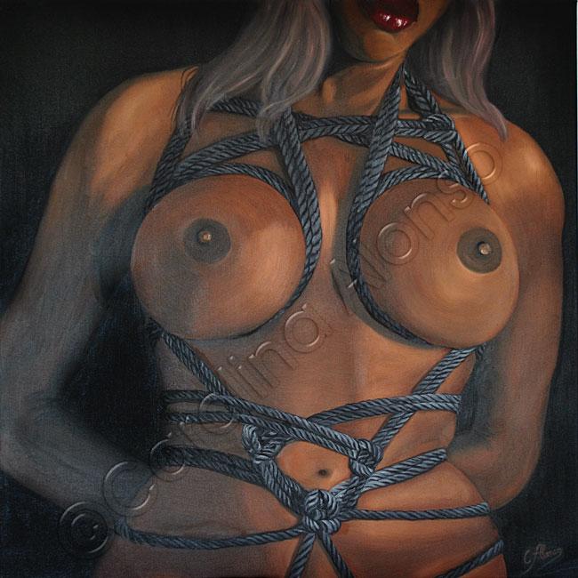 Gebunden (2017), Öl & Acryl auf Leinwand, 80 x 80 x 4 cm