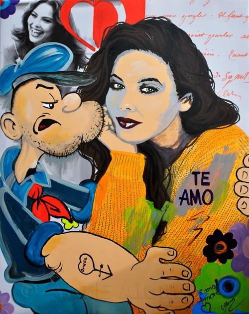 Te amo (2011), 100 x 80 cm,  Print & Acryl auf Leinwand