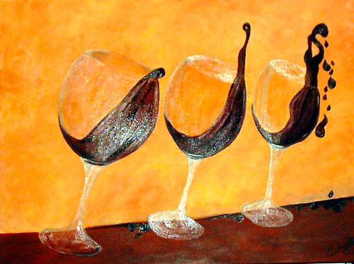 Die schwippsigen Rotweingläser (2007), 60 x 80 cm