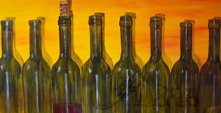 Flaschenreigen  50 x 100 cm