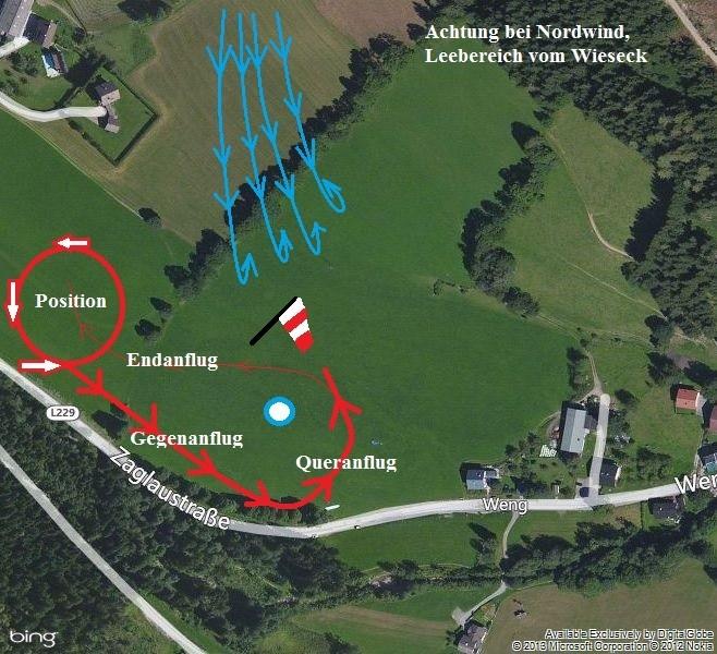 Bild 17: Achtung bei Nordlagen im Früjahr und Sommer, Wirbel und Rotoren im Bereich des Übungshanges.