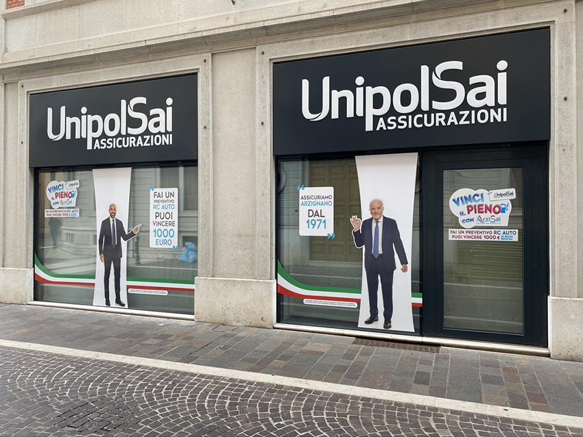 Decorazione vetrine UnipolSai Vicenza