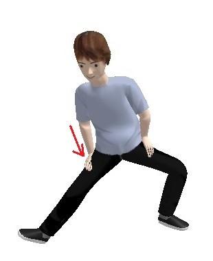 右足を伸ばし右手で足の付け根を押します  (右足の膝が曲がっていないように)