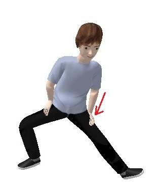 左足を伸ばし左手で足の付け根を押します  (左足の膝が曲がっていないように)