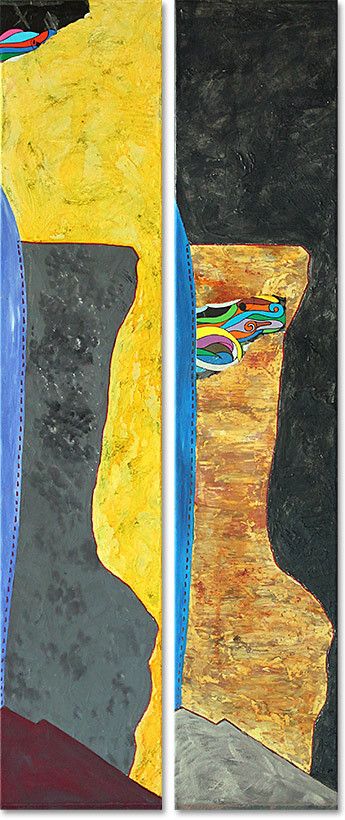 "DIALOGUE? GAZA | 2014 | Mixed media on canvas | Diptych, 100x42cm (2x 100x20cm) | 39.4""x16.5"" (2x 39.4""x7.9"")"