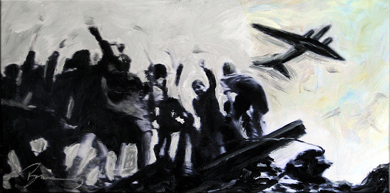 "Berlin 1948/49, Rosinenbomber (Candy Bombers) | 2008 | Mixed media on canvas, private collection of Bernard | 40x80cm | 15.7""x31.5"" •"