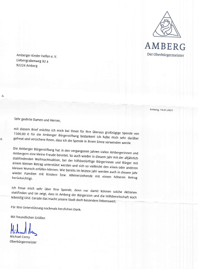 1.500 € für die Amberger Bürgerstiftung