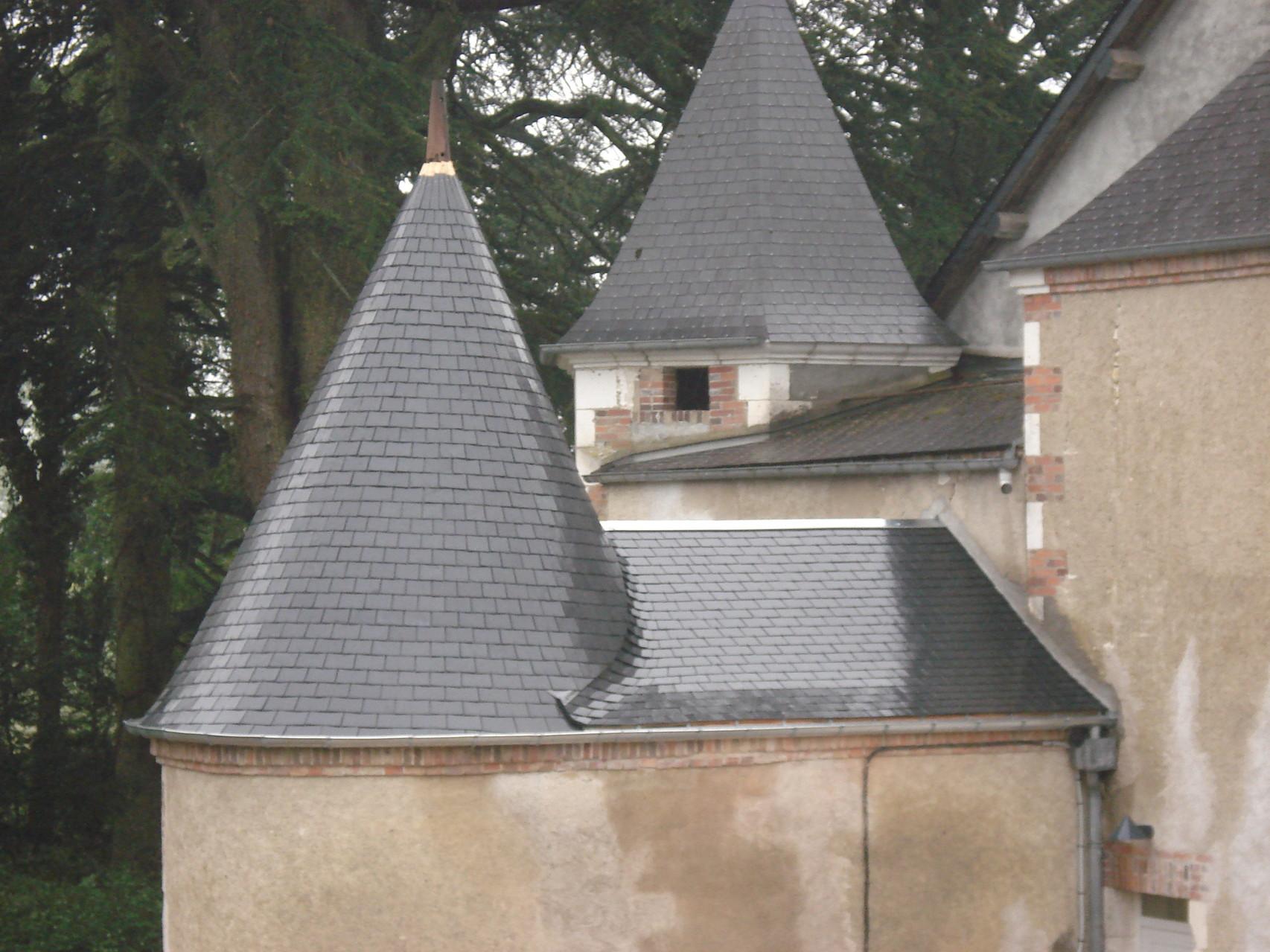 Restauration d'une tour en ardoises - Chestier