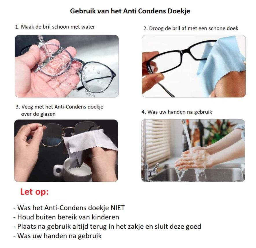 Anti condens doekjes voor gebruik bij mondkapjes - Gaat beslagen brilglazen tegen
