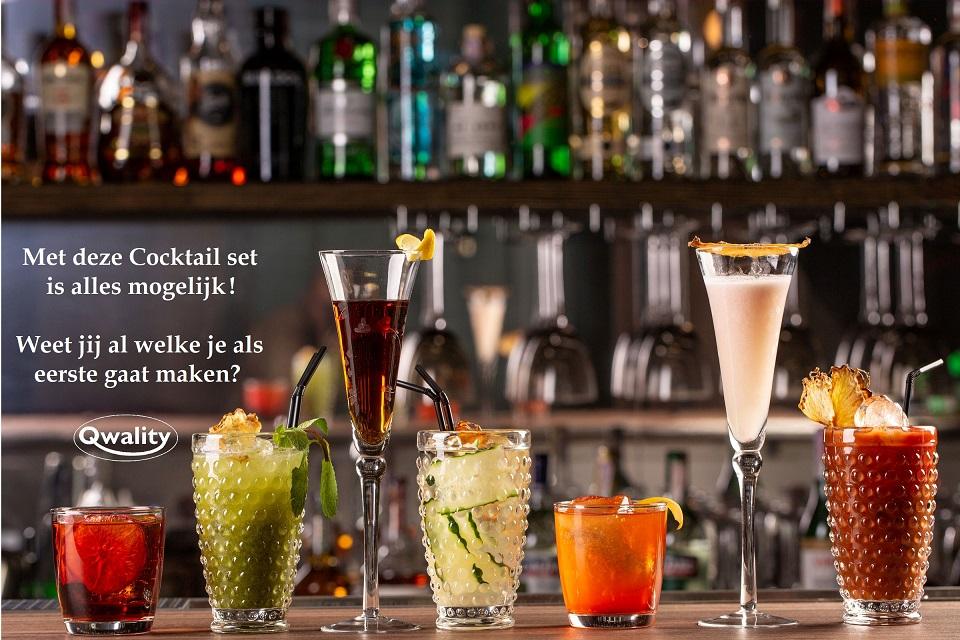 Cocktail shaker set Qwality cadeauset spullen rvs