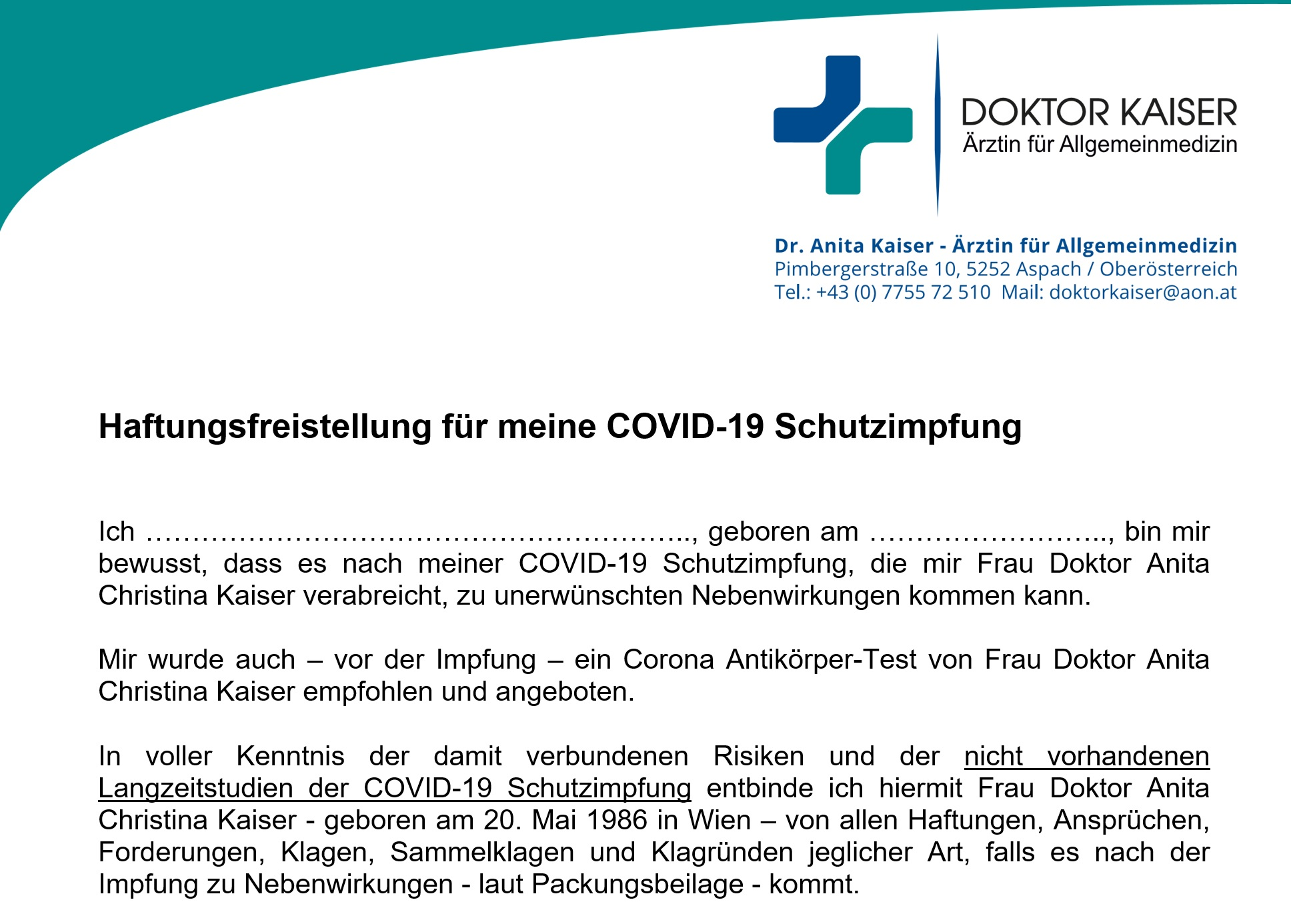 Beipackzettel Impfstoffe + 2 Unterschriften von Ihnen!